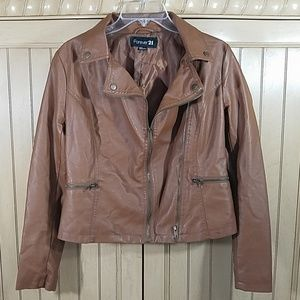 Forever21 Brown Leather-Look Jacket